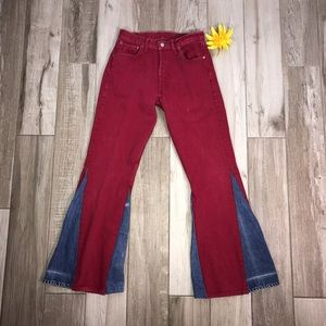 High Waisted Levis Hand Sewn Funky Bell Bottoms